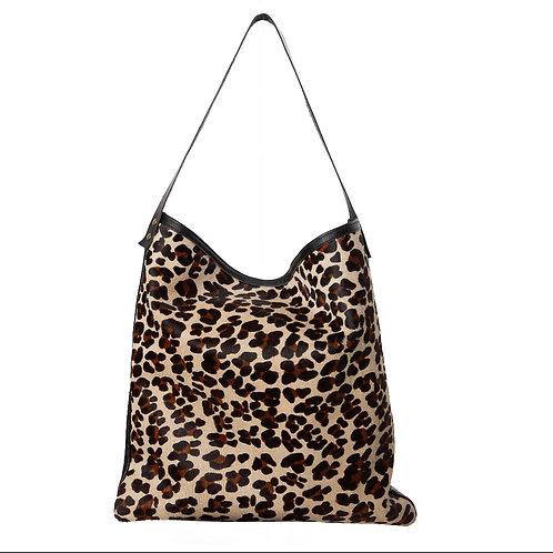 Cabas porté épaule léopard et cuir lisse