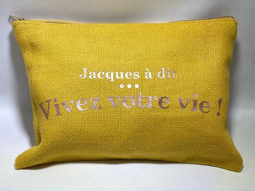 Pochette de sac lin jaune «Jacques a dit»