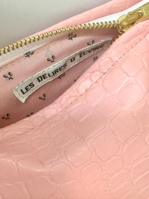 Pochette de sac croco rose tendre