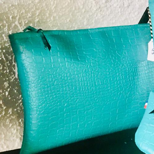 Pochette de sac croco turquoise