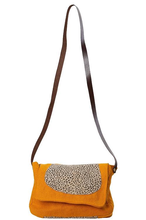 Besace lin orange et cuir léopard