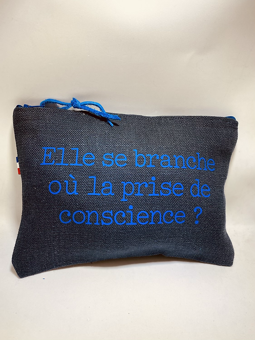 Pochette de sac lin bleu conscience