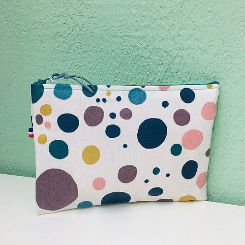 Pochette de sac en toile enduite pois couleurs