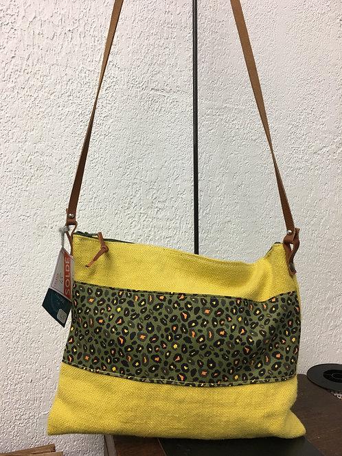 Petit format bandoulière lin jaune et léopard kaki