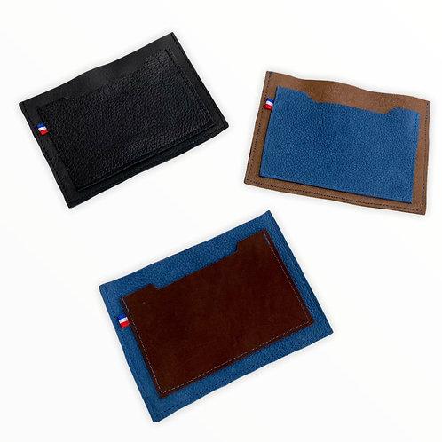 Portefeuille simplifié pour homme - 2 cuirs