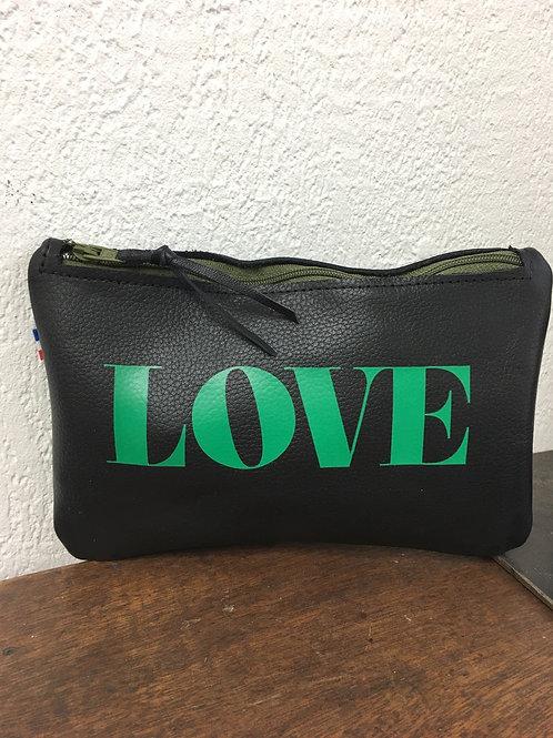 Pochette cuir noir LOVE