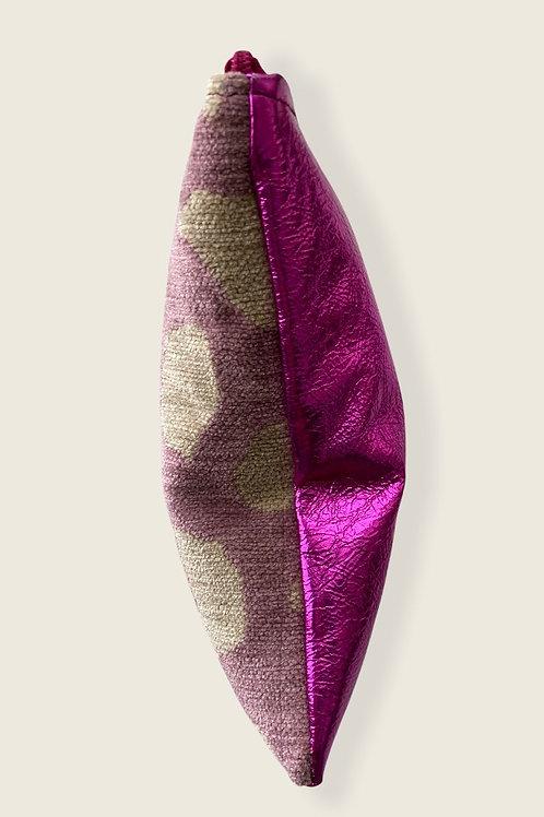 Pochette de sac velour et cuir mauve métallisé