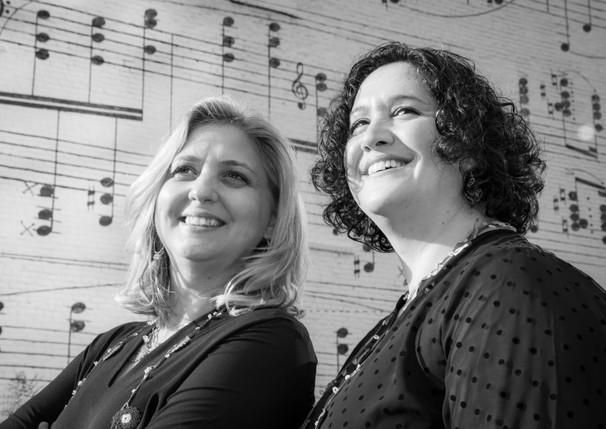 Basgoze-Pinto Piano Duo - B&W- Music Wall 2