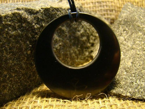 Circle within a circle Shungite pendant (From Russia)
