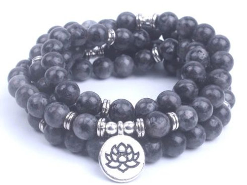 108 mala bracelet/necklace with Lotus charm (8mm)