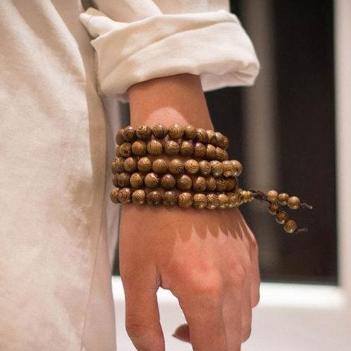 108 Wood Mala bead bracelet/necklace