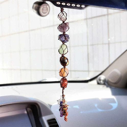 Natural Chakra Stone car macrame ornament
