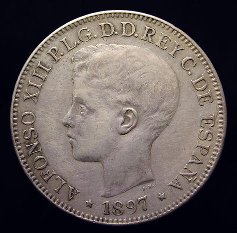 Alfonso XIII 5 pesos Filipinas Anverso.j