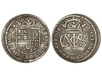 2 reales Carlos III pretendiente archiduque