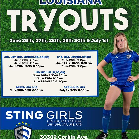 Sting Louisiana Tryouts