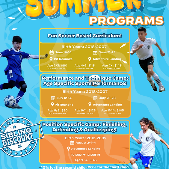 Summer Camps: Fun Soccer Based Curriculum!