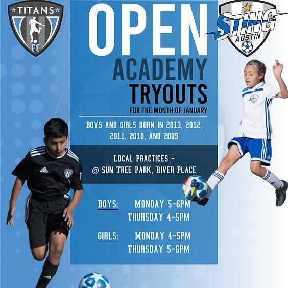 Sting and Titans Soccer Open Academy Tryouts