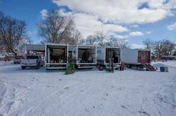 Production vehicles at pavilion