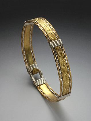 Easy-on pattern wire bangle bracelet
