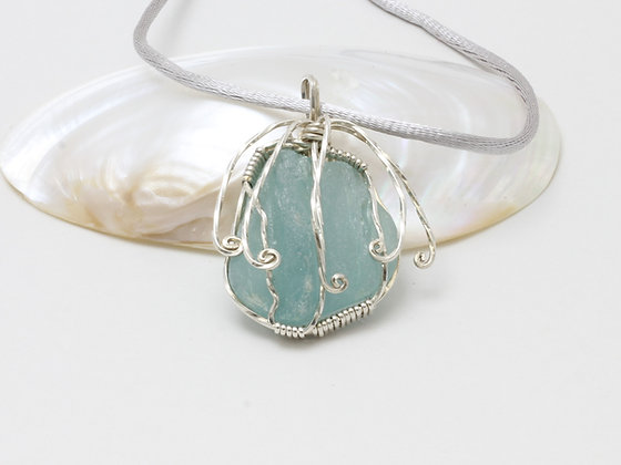 "Teal sea glass ""fountain"""