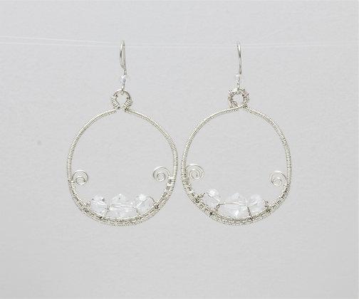 Beaded Moon Earrings