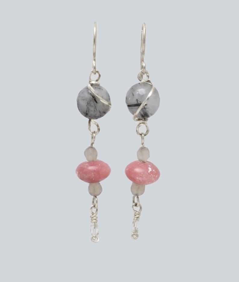 Rutiliated quartz + pink opal