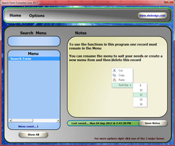 Excel Search Form Notes Menu