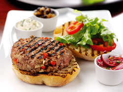Beef and red pepper burgers