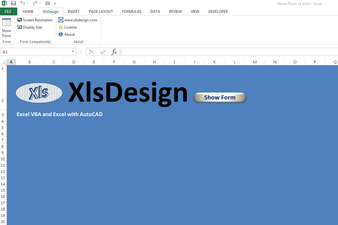 XlsDesign Notes Form Ribbon