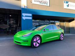 custom tesla bright green color change w