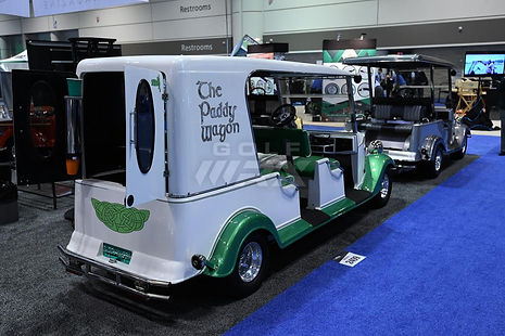 Streetrod Golf Cars - Irish Paddy Wagon - Beverage Drinks Cocktails - PGA Show - Luxury Custom Golf Cart Car