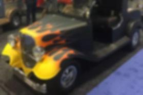 Streetrod Golf Cars - PGA Show - Vintage - Hotrod with flames - custom golf cart