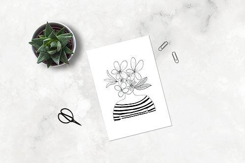 "Carte postale ""Tête fleurie"" - Marinière"
