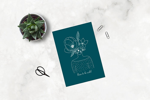 "Carte postale ""Tête fleurie"" - Pois"