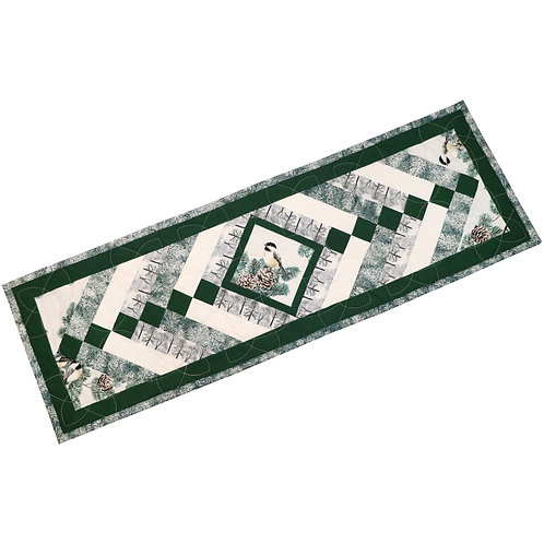 Quilted Table Runner - Winter Chickadees