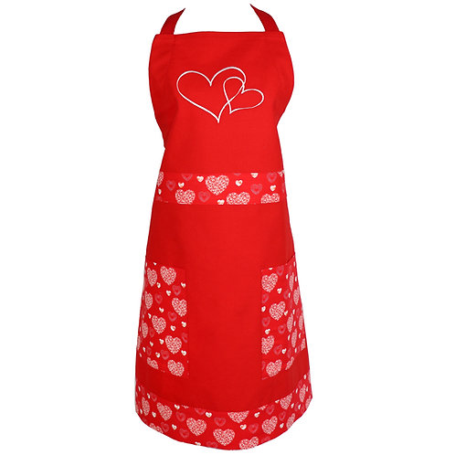 Hearts Apron - Red