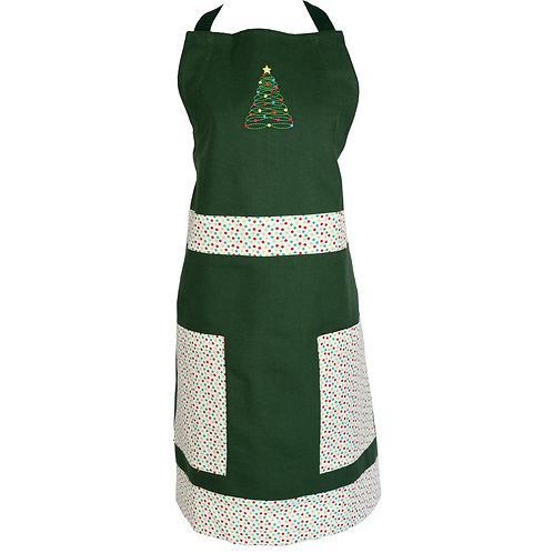 Christmas Tree Apron - Green Dots