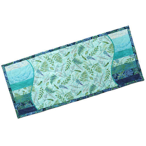 Quilted Table Runner - Blue Fern Wave
