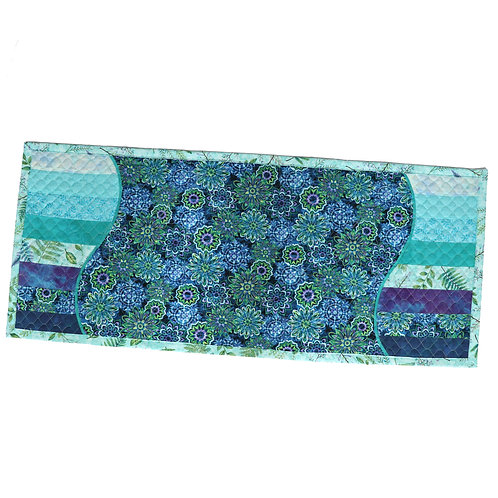 Quilted Table Runner - Blue Floral Wave