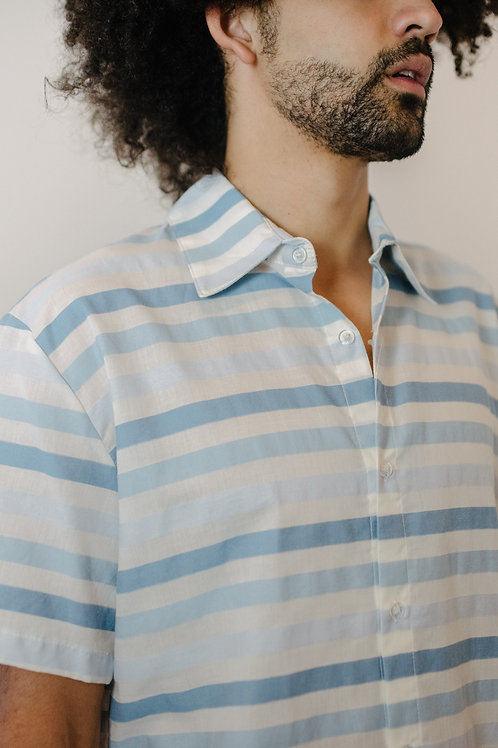 Camisa Listras Azul e azul Stitch AGÊNERO
