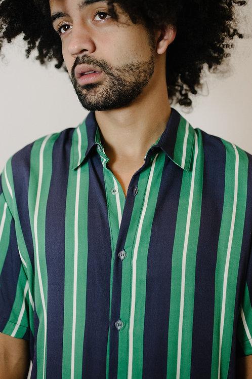 Camisa Listras Verde Azul Stitch AGÊNERO