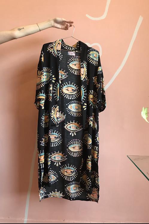 Kimono Arrasex Estampado Arararex preto olho