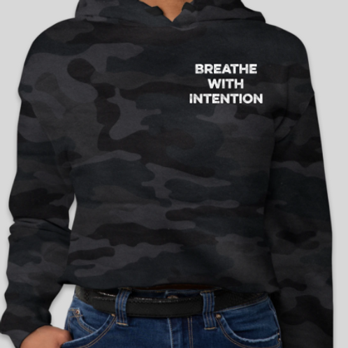 Breathe with Intention Camo Cropped Hoodie