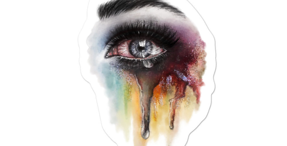 """crying rainbows"" sticker"
