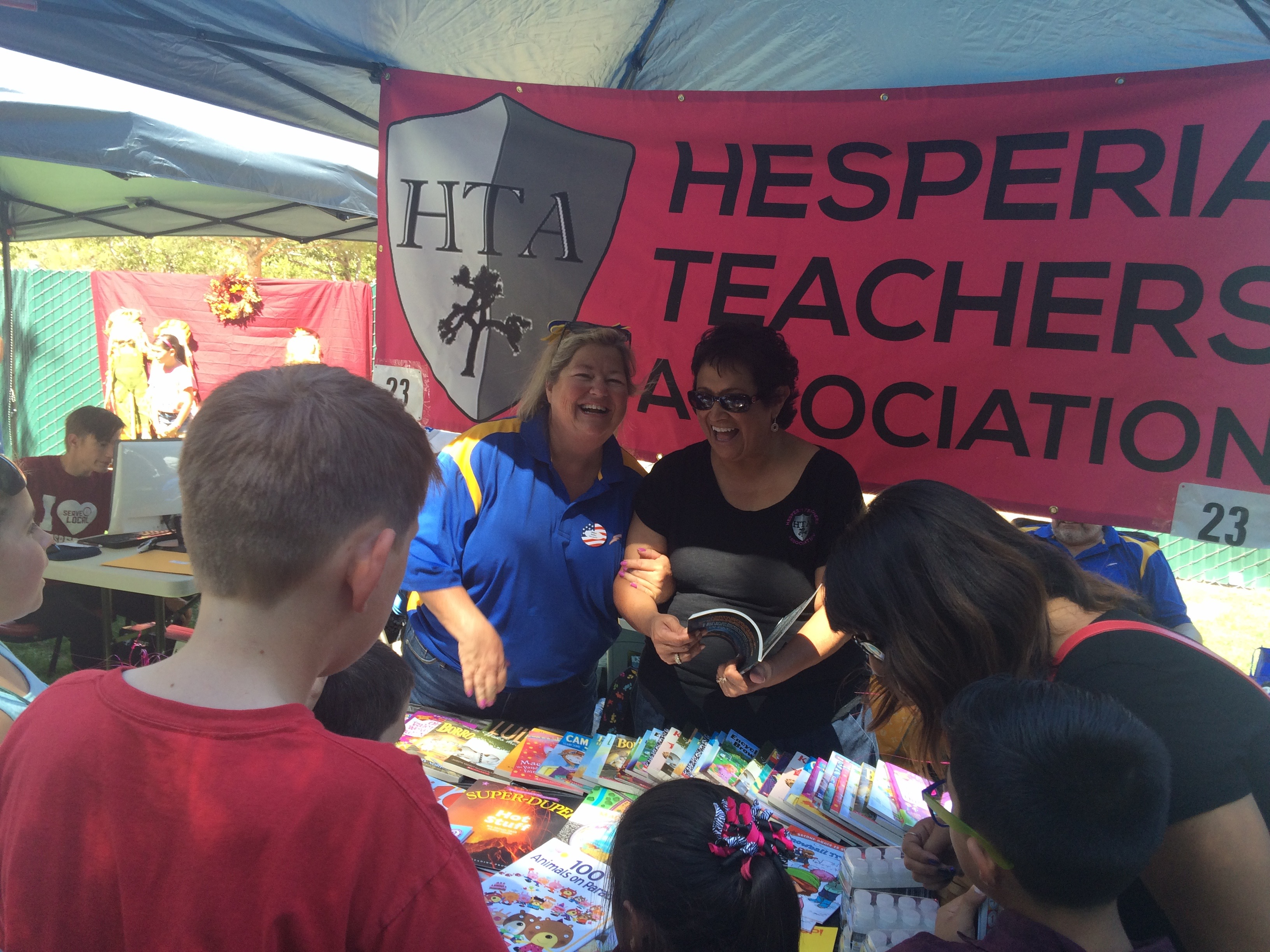 Giving away books at Hesperia Days