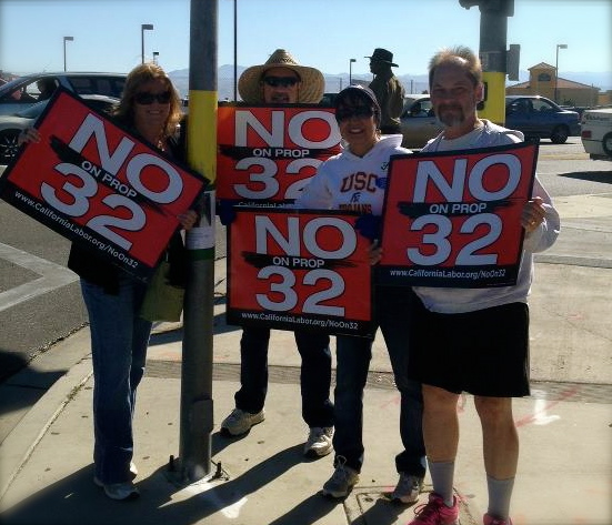 Out fighting against prop 32!