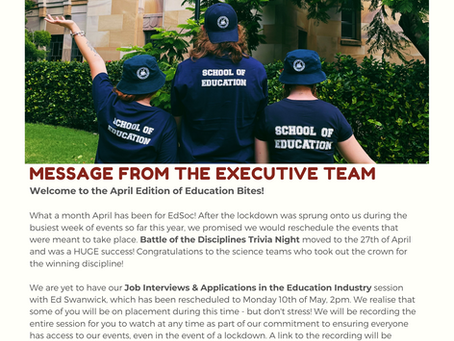 Education Bites: EdSoc Newsletter - April 2021 Issue