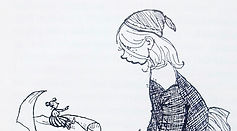 A pen and ink cartoon of a child looking at a very small woman