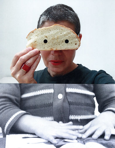 Portrait of artist Sonia Boue holding a slice of bread in front of her eyes. Her lower torso is a child's body and hands.