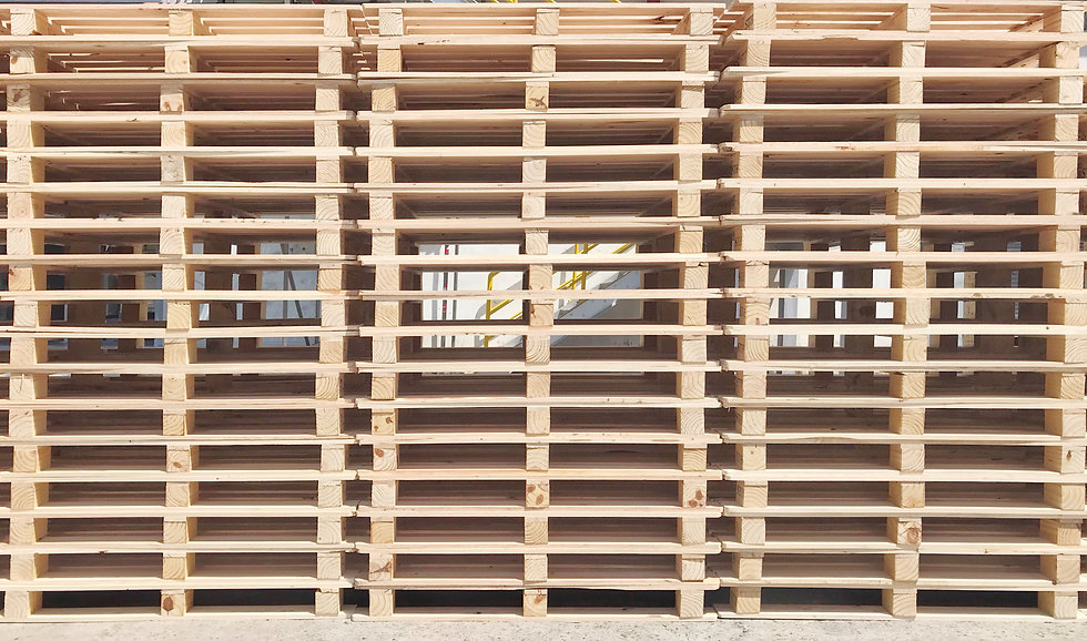 Empty wooden pallet for industrial transportation and goods to container and load to truck